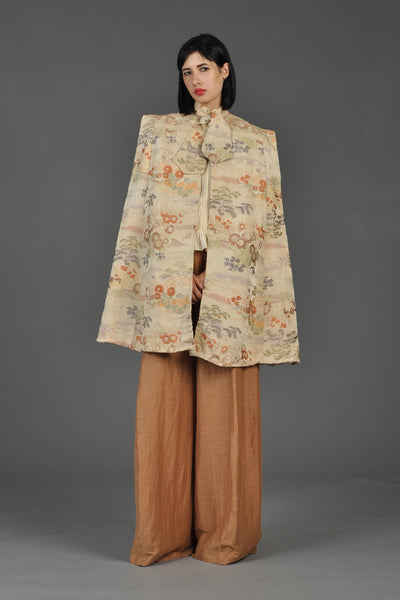 1960s Silk Asian Floral Brocade Cape