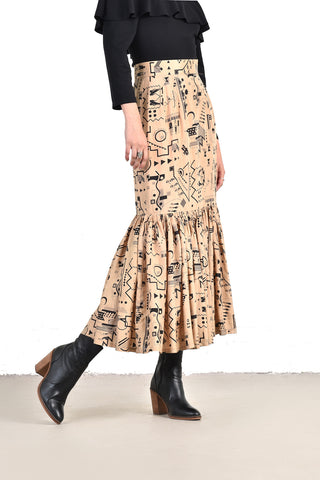 Evelyn Deco Print High Waist Silk Maxi Skirt