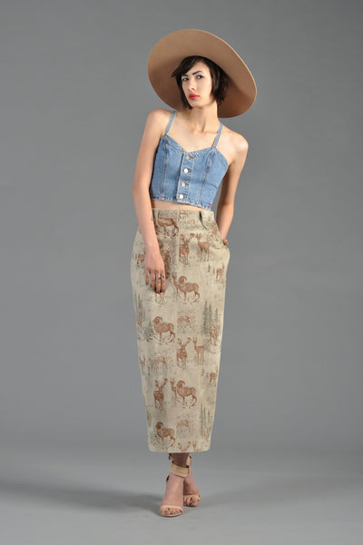1980s Suede Midi Skirt With Elk + Rams