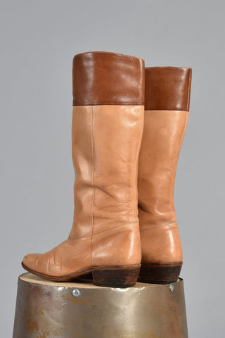 Two-Tone Fawn & Sienna 1970s Leather Boots 7.5