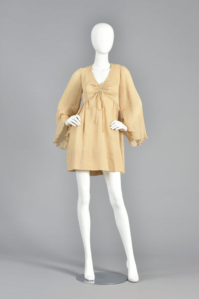 Deadstock 1960s Gauze Mini Dress w/Pleated Angel Sleeves