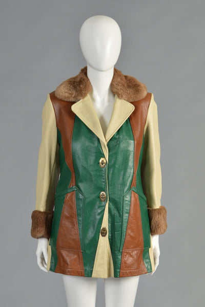 70s Custom Made Patchwork Leather Jacket w/Shearling Lining
