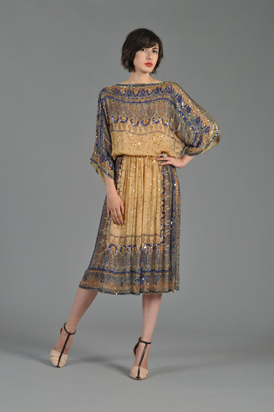 Ethnic Sequin Beaded Silk Kimono Dress