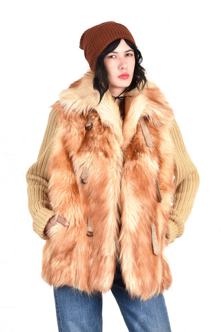Darla 1970s Shaggy Fur Sweater Coat