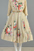 Holly Hoelscher Hand Painted 1950s Silk Chiffon Party Dress