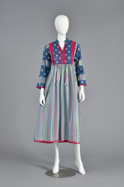 Suzy 70s Ethnic Embroidered Cotton Maxi Dress w/Bell Sleeves