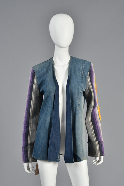 1970s Patchwork Denim Jacket w/Rainbow Stripe Wool Blanket Sleeves