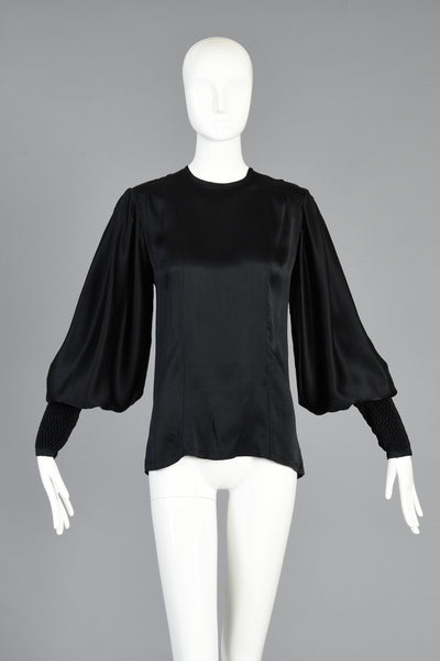 70s Thea Porter Couture Silk Blouse w/Massive Blouson Sleeves