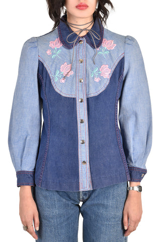Clara Petite Denim Jacket w/Embroidered Roses