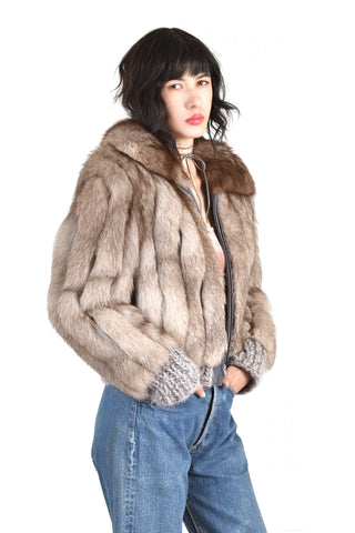 Betsy Chubby Lil Grey Fox Fur Knit Coat