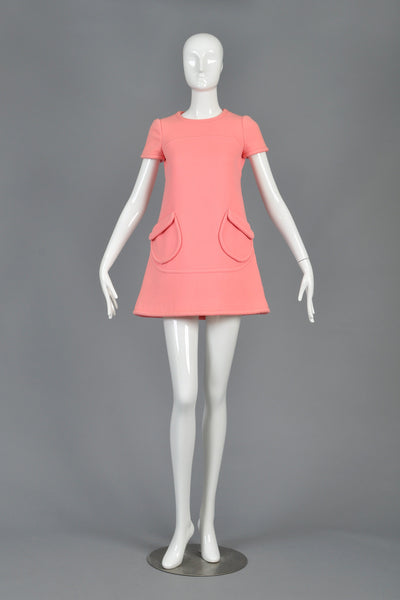 60s Torrente Couture Space Age Wool Mini Dress