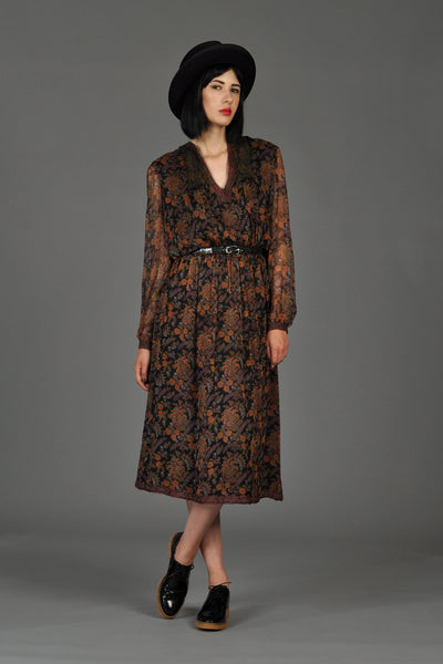 Treacy Lowe Hand-Blocked 70s Silk Floral Dress
