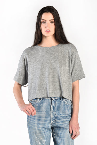 Deadstock Tri-Blend Heather Grey Cropped Tee