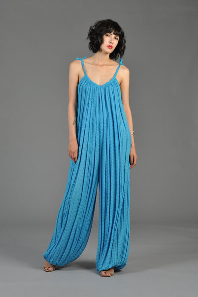 Aqua 1970s Pleated Gauze Balloon Leg Jumpsuit