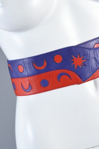 1980s Ungaro Sun, Moon + Stars Calfskin Leather Belt