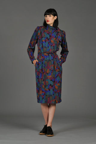 Ungaro 1980s Floral Silk Dress with Ascot