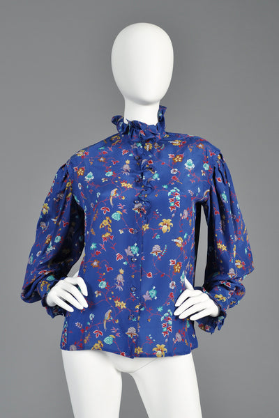 1970s Ungaro Silk Floral Birds Ruffle Front Blouse