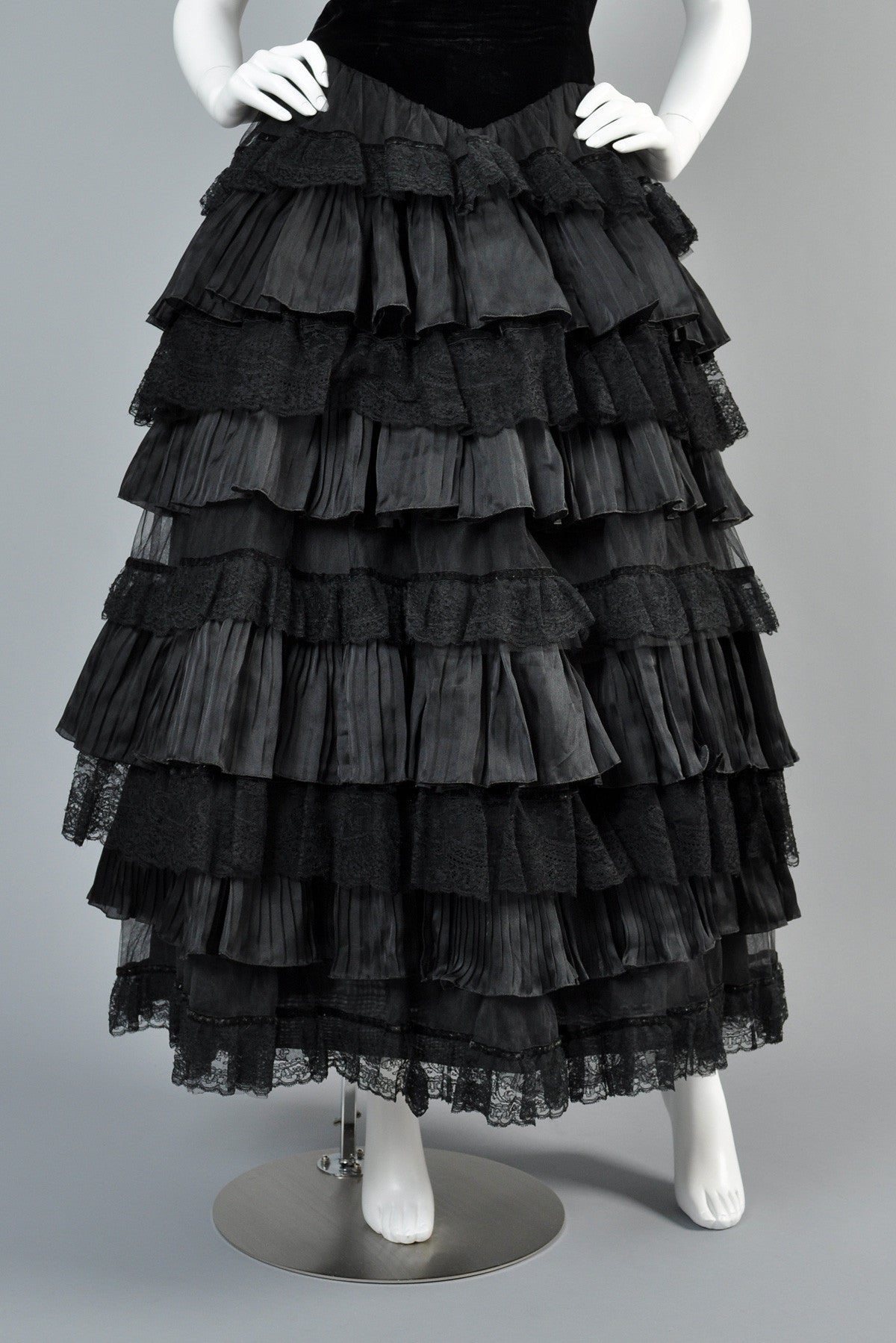Valentino Ruffled Velvet + Lace Evening Gown   BUSTOWN MODERN