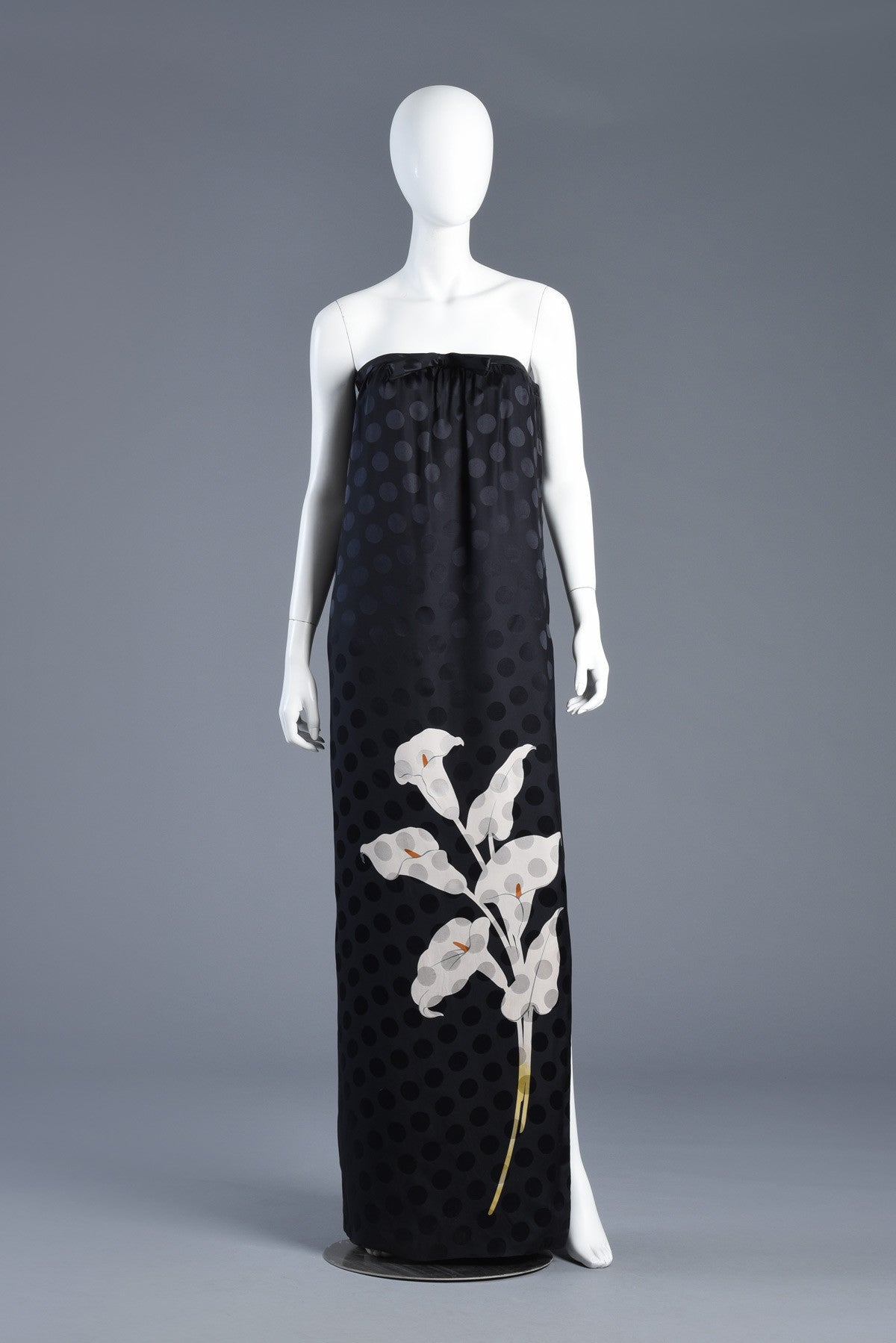 Strapless Valentino Lily + Polkadot Print Evening Gown   BUSTOWN MODERN