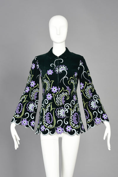 60s Valentino Floral Embroidered Scalloped Velvet Top