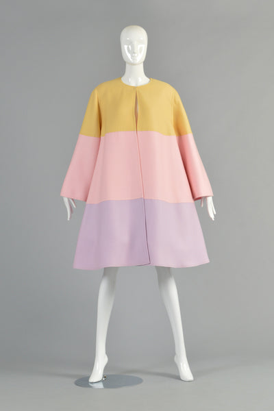Valentino Pastel Colorblock Swing Coat