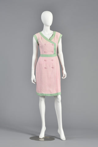 1980s Valentino Watermelon Double Breasted Linen Dress