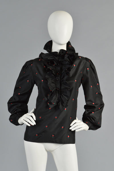 1970s Valentino Ruffle Front Floral Blouse with Ascot