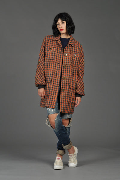 Valentino 1980s Plaid Car Coat