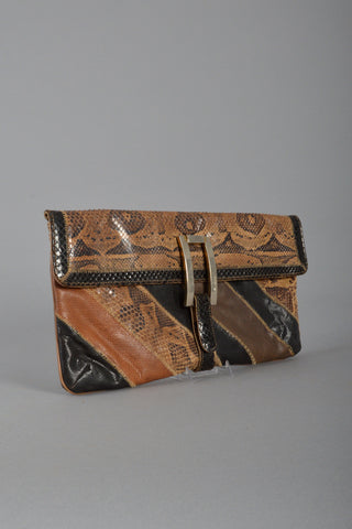 Varon 1980s Earthy Snakeskin Striped Clutch with Buckle