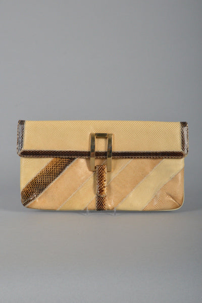 Varon 1980s Natural Snakeskin Striped Clutch with Buckle