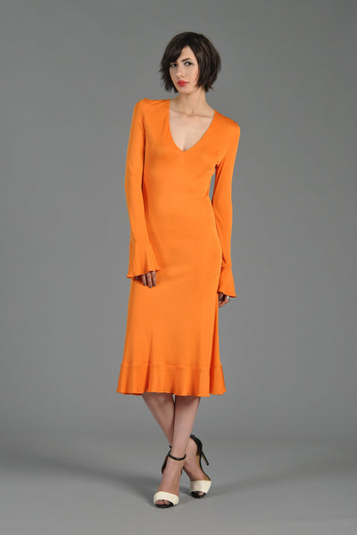 Versace Couture 90s Plunging Tangerine Dress w/Trumpet Sleeves