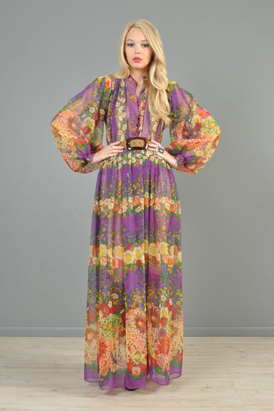 Victor Costa 1970s Blouson Sleeved Maxi Dress