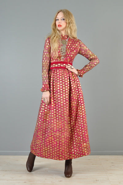 Victor Costa Romantica 1970s Metallic Brocade Maxi Dress