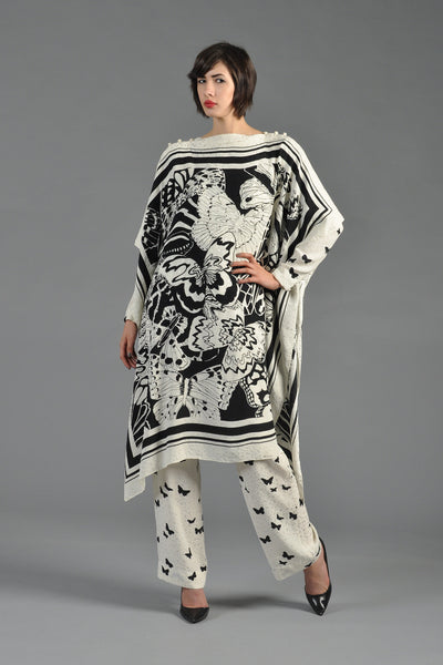 David Hayes Silk Butterfly 3pc Caftan, Blouse + Pants