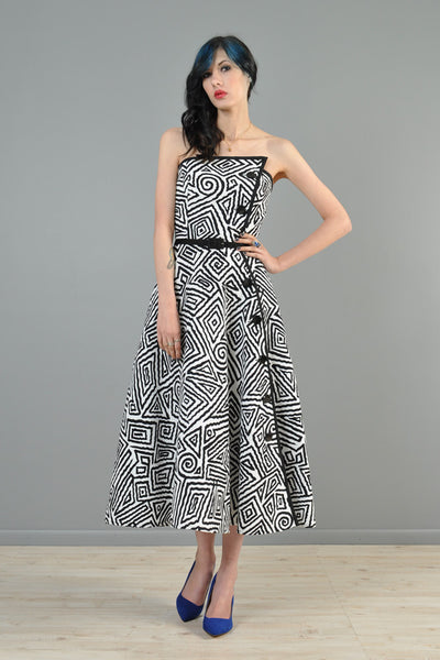Black + White 1980s Avant Garde Maze Dress