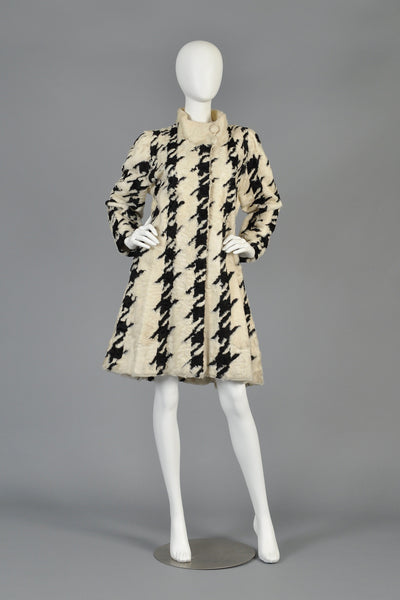 Mod 1960s Houndstooth Swakara Broadtail Fur Coat