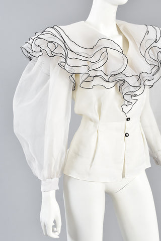 Ruffled Organza Blouse w/ Huge Blouson Sleeves
