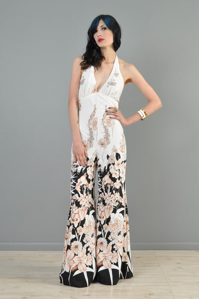 Black + White 1970s Ombre Floral Backless Palazzo Jumpsuit