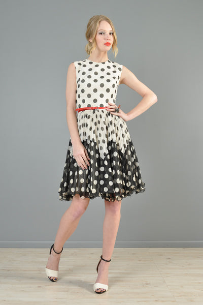 Black + White 1960s Polkadot Gauze Mini Dress