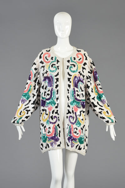 1980s Sequin + Bead Encrusted Graphic Rainbow Jacket
