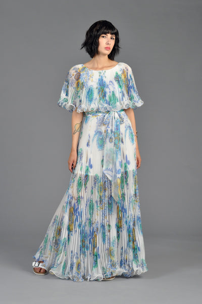 Pleated Chiffon Floral Cape Gown
