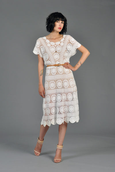 Sheer 70s Crochet Pinwheel Scalloped Dress
