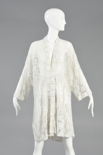 Art Nouveau Inspired Beaded Lace Kimono Jacket