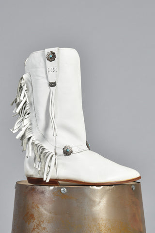 White Fringe Leather Boots w/Floral Conchos 10