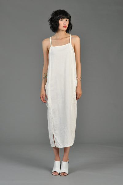 1990s White Linen Sack Dress with Pockets