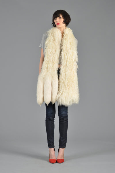 Mongolian Lamb + Fox Tail Fur Scarf