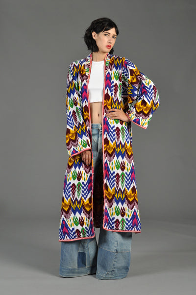Rainbow Chevron Reversible Ikat Duster