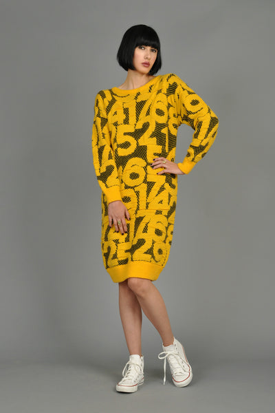 1980s Graphic Knit Midi Dress with Numbers