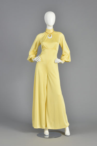 1970s Goldenrod Palazzo Jumpsuit with High Neck