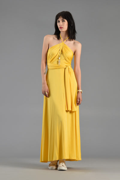 1970s Canary Yellow Backless Draped Maxi Dress